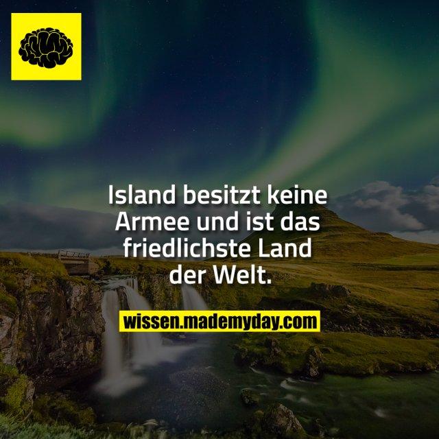 Island besitzt keine Armee<br /> und ist das friedlichste<br /> Land der Welt.