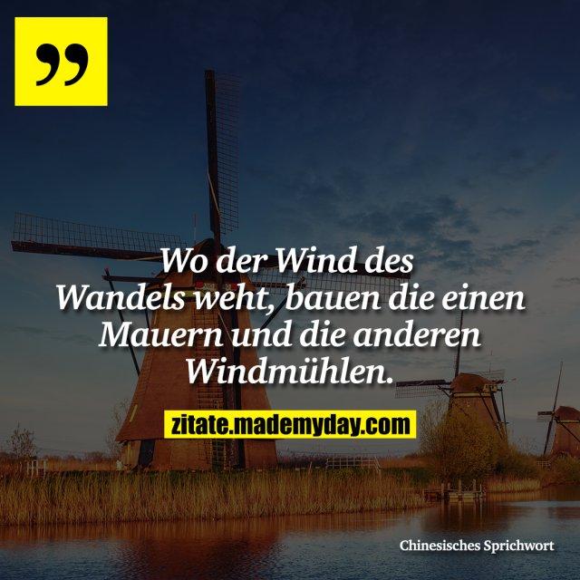 Wo der Wind des Wandels weht, bauen die einen Mauern und die anderen Windmühlen.