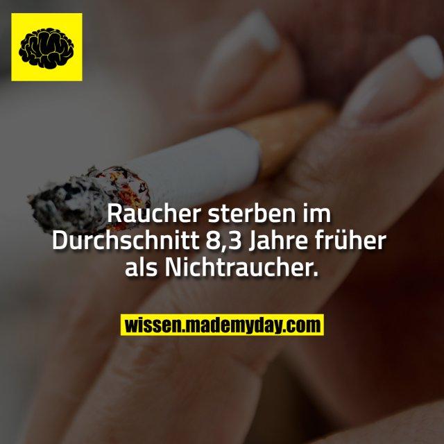 Raucher sterben im Durchschnitt 8,3 Jahre früher als Nichtraucher.