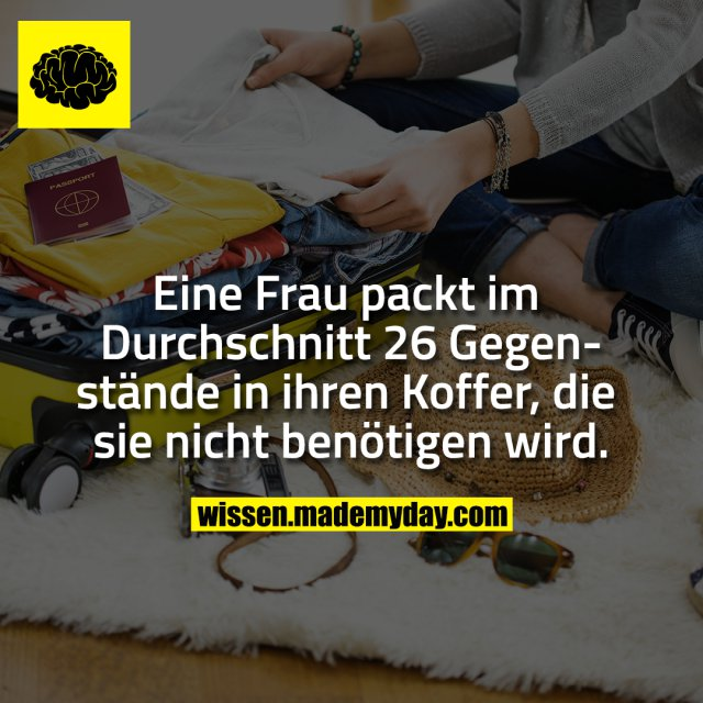 Eine Frau packt im Durchschnitt 26 Gegenstände in ihren Koffer, die sie nicht benötigen wird.
