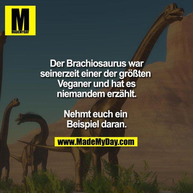 Der Brachiosaurus war seinerzeit einer der größten Veganer und hat es niemandem erzählt.<br /> <br /> Nehmt euch ein Beispiel daran.