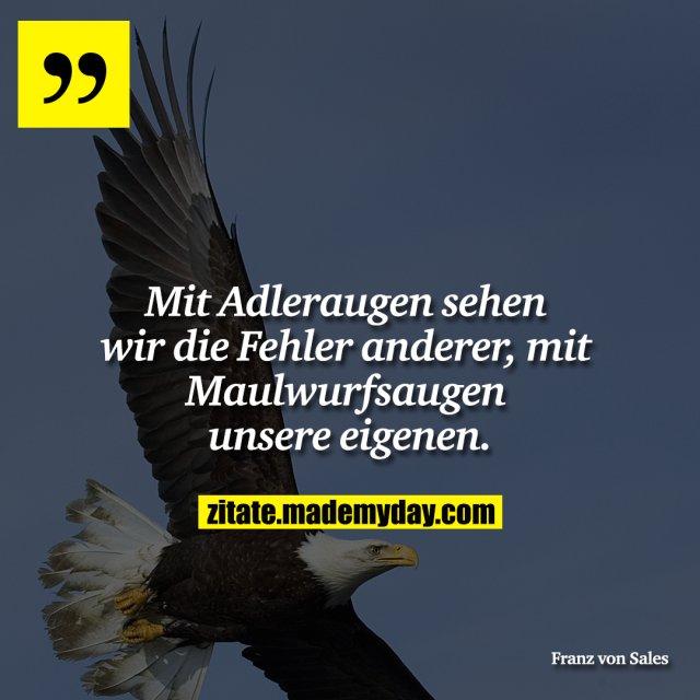 Mit Adleraugen sehen wir die Fehler anderer, mit Maulwurfsaugen unsere eigenen.