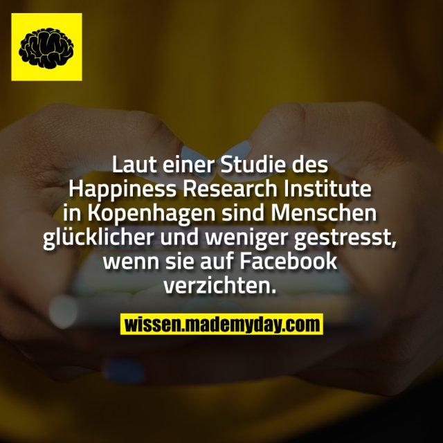 Laut einer Studie des Happiness Research Institute in Kopenhagen sind Menschen glücklicher und weniger gestresst, wenn sie auf Facebook verzichten.