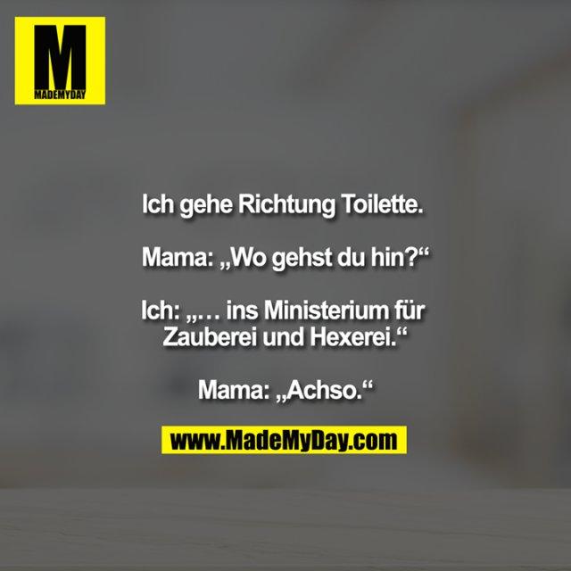 """Ich gehe Richtung Toilette. <br /> <br /> Mama: """"Wo gehst du hin?""""<br /> <br /> Ich: """"… ins Ministerium für Zauberei und Hexerei.""""<br /> <br /> Mama: """"Achso."""""""