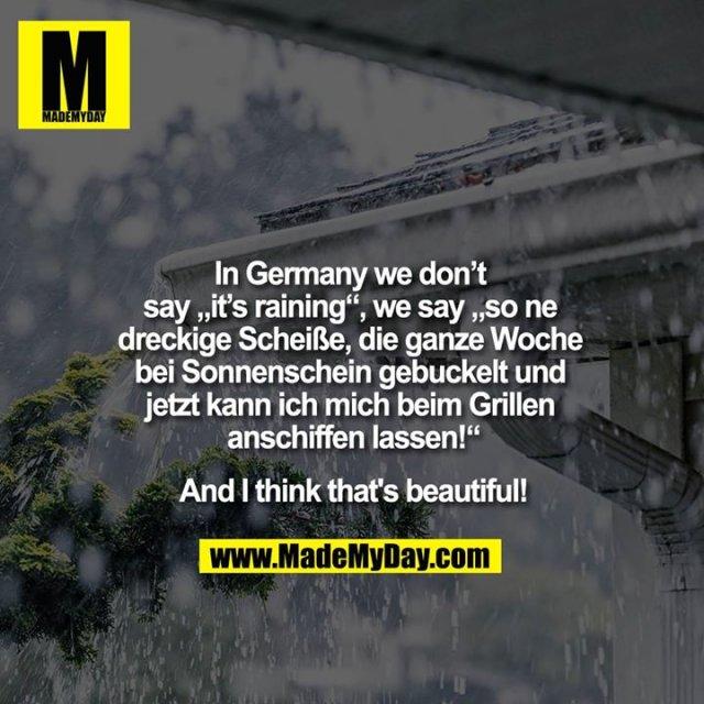 """In Germany we don't say """"""""it's raining"""""""", we say """"""""so ne dreckige Scheiße, die ganze Woche bei Sonnenschein gebuckelt und jetzt kann ich mich beim Grillen anschiffen lassen!""""""""<br /> <br /> And I think that's beautiful!"""