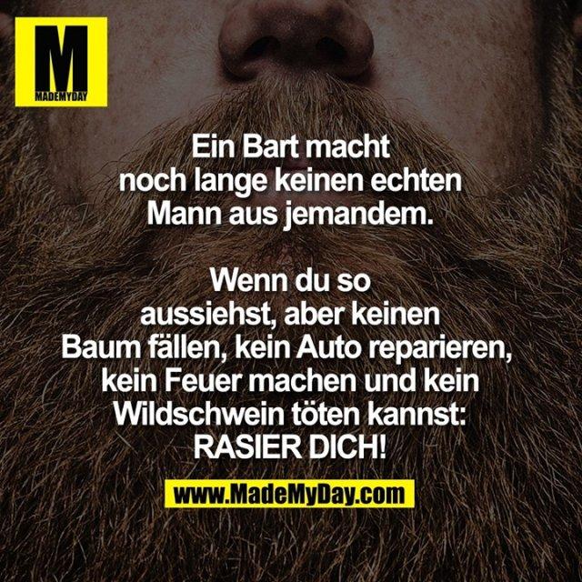 Ein Bart macht noch lange keinen echten Mann aus jemandem, <br /> wenn du so aussiehst, <br /> aber keinen Baum fällen, <br /> kein Auto reparieren, <br /> kein Feuer machen und <br /> kein Wildschwein töten kannst:<br /> RASIER DICH!