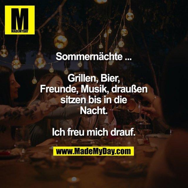 Sommernächte ...<br /> <br /> Grillen, Bier, Freunde, Musik, draußen sitzen bis in die Nacht. Ich freu mich drauf.
