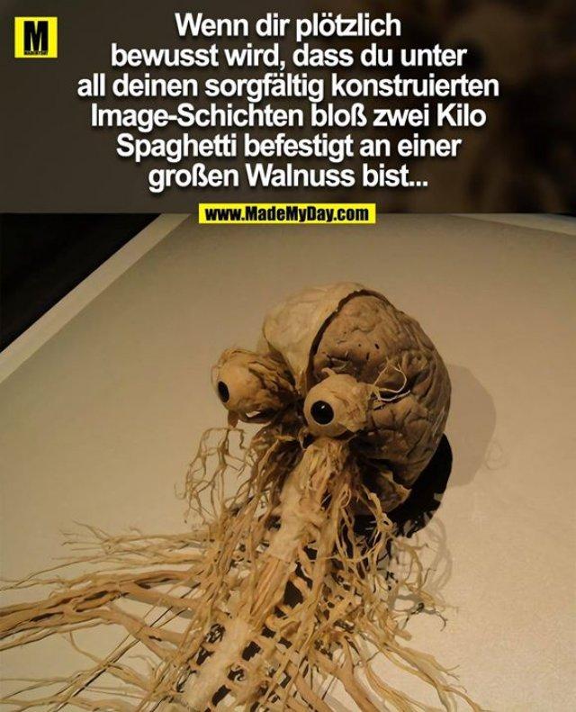 Wenn dir plötzlich bewusst wird, dass du <br /> unter all deinen sorgfältig konstruierten <br /> Image-Schichten bloß zwei Kilo Spaghetti <br /> befestigt an einer großen Walnuss bist...