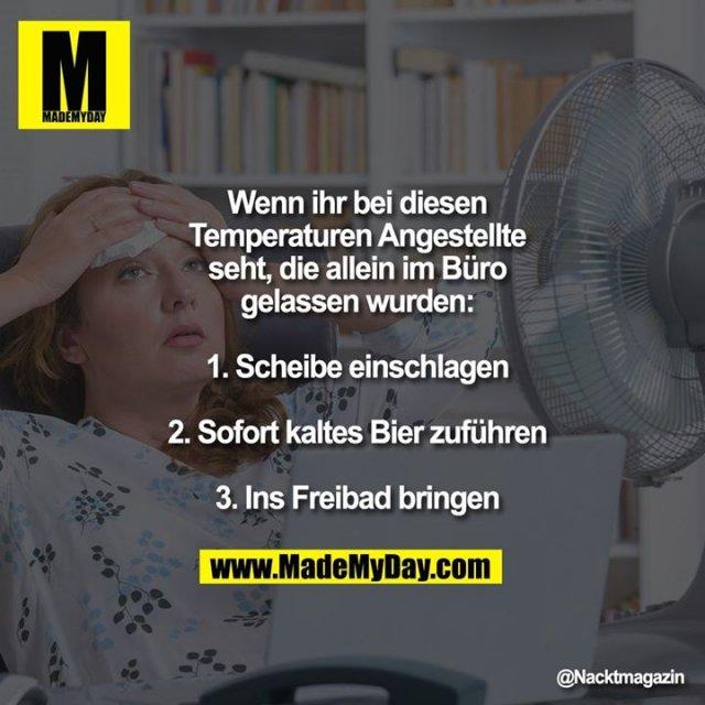 Wenn ihr bei diesen Temperaturen Angestellte seht, die allein im Büro gelassen wurden:<br /> 1. Scheibe einschlagen<br /> 2. Sofort kaltes Bier zuführen<br /> 3. Ins Freibad bringen