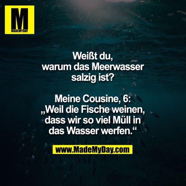 """Weißt du,<br /> warum das Meerwasser<br /> salzig ist?<br /> <br /> Meine Cousine, 6:<br /> """"Weil die Fische weinen,<br /> dass wir so viel Müll in<br /> das Wasser werfen."""""""