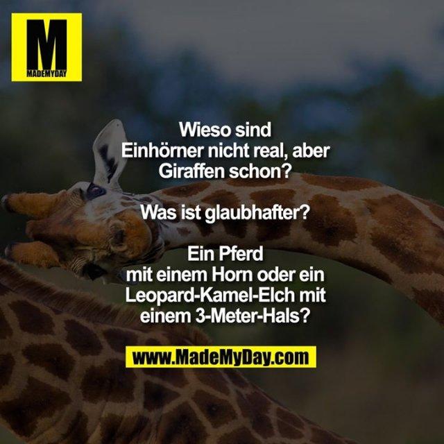 Wieso sind<br /> Einhörner nicht real, aber<br /> Giraffen schon?<br /> <br /> Was ist glaubhafter?<br /> <br /> Ein Pferd<br /> mit einem Horn oder ein<br /> Leopard-Kamel-Elch mit<br /> einem 3-Meter-Hals?