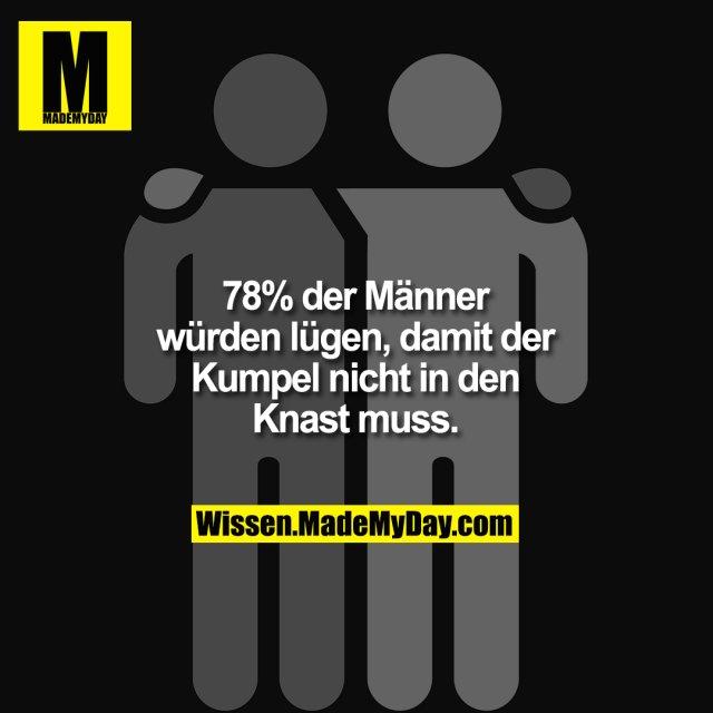 78 % der Männer<br /> würden lügen, damit der<br /> Kumpel nicht in den<br /> Knast muss.
