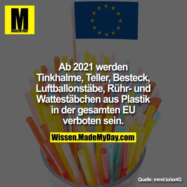 Ab 2021 werden<br /> Tinkhalme, Teller, Besteck,<br /> Luftballonstäbe, Rühr- und<br /> Wattestäbchen aus Plastik<br /> in der gesamten EU<br /> verboten sein.