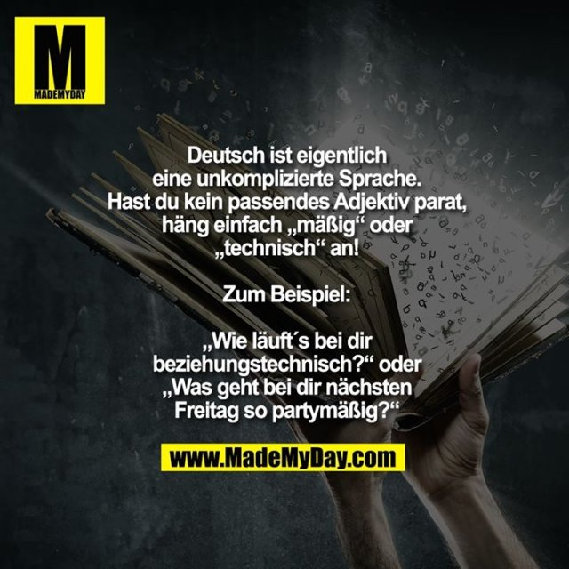 """Deutsch ist eigentlich<br /> eine unkomplizierte Sprache.<br /> Hast du kein passendes Adjektiv parat,<br /> häng einfach """"mäßig"""" oder<br /> """"technisch"""" an!<br /> <br /> Zum Beispiel:<br /> <br /> """"Wie läuft´s bei dir<br /> beziehungstechnisch?"""" oder<br /> """"Was geht bei dir nächsten<br /> Freitag so partymäßig?"""""""