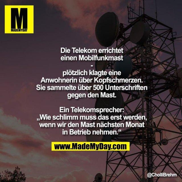 """Die Telekom errichtet einen Mobilfunkmast<br /> -<br /> plötzlich klagte eine Anwohnerin über Kopfschmerzen. Sie sammelte über 500 Unterschriften gegen den Mast.<br /> Ein Telekomsprecher: """"Wie schlimm muss das erst werden, wenn wir den Mast nächsten Monat in Betrieb nehmen."""""""