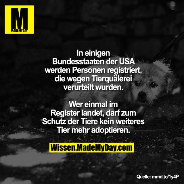 In einigen Bundesstaaten der USA<br /> werden Personen registriert, die<br /> wegen Tierquälerei verurteilt<br /> wurden. Wer einmal im Register<br /> landet, darf zum Schutz der Tiere<br /> kein weiteres Tier mehr adoptieren.