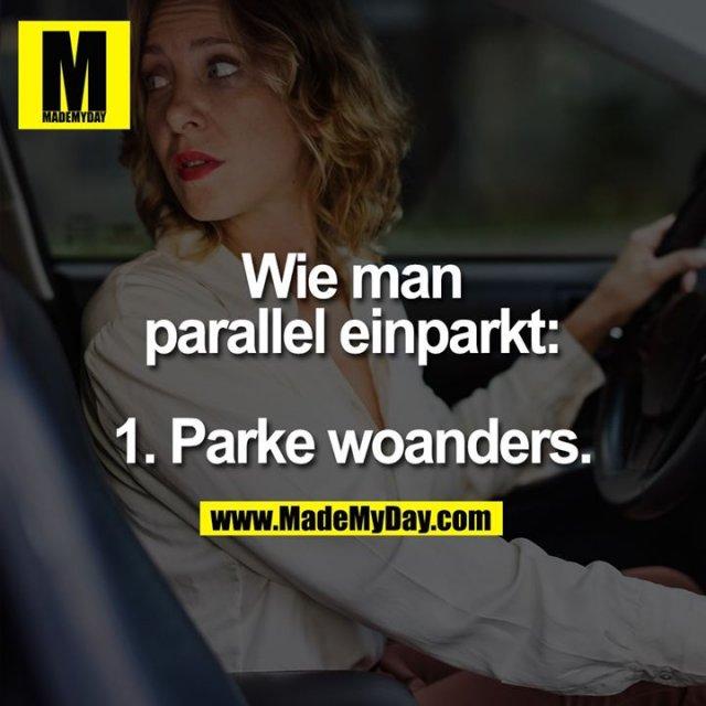 Wie man parallel einparkt:<br /> <br /> 1. Parke woanders.