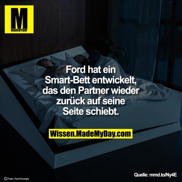 Ford hat ein Smart-Bett entwickelt, das<br /> den Partner wieder zurück auf<br /> seine Seite schiebt.