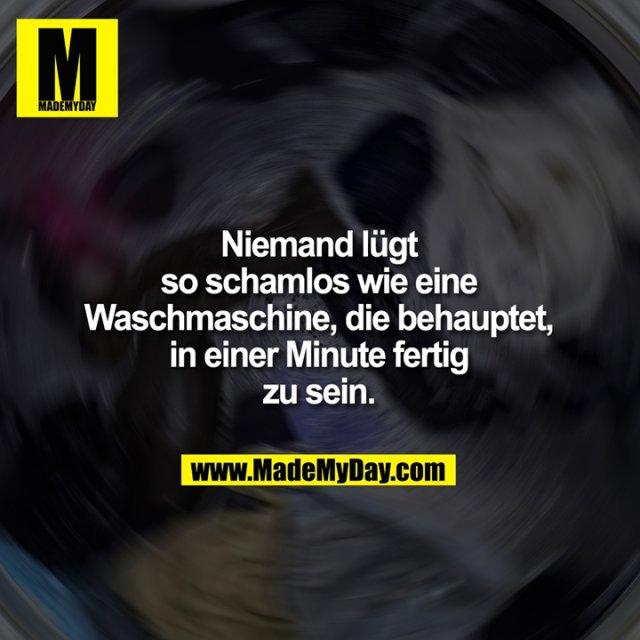 Niemand lügt so schamlos<br /> wie eine Waschmaschine,<br /> die behauptet, in einer<br /> Minute fertig zu sein.