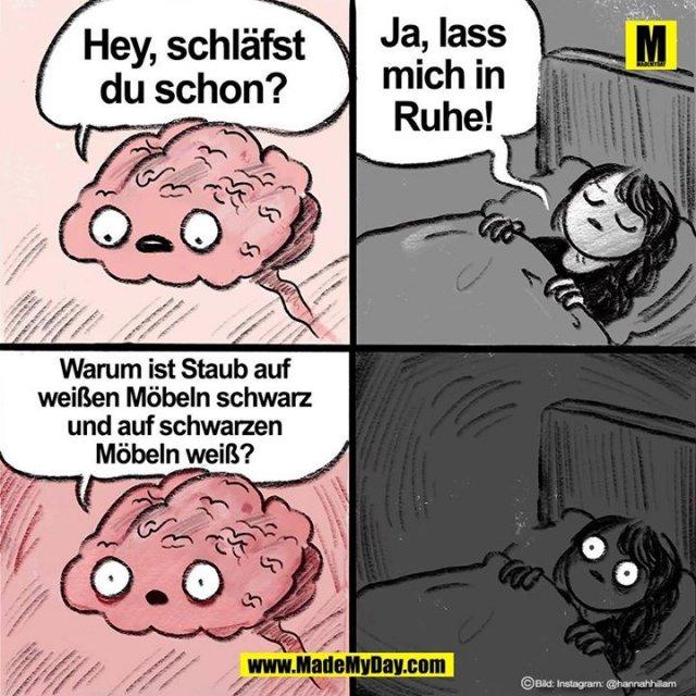Hey, schläfst<br /> du schon?<br /> <br /> Ja, lass<br /> mich in<br /> Ruhe!<br /> <br /> Warum ist Staub auf<br /> weißen Möbeln schwarz<br /> und auf schwarzen<br /> Möbeln weiß?
