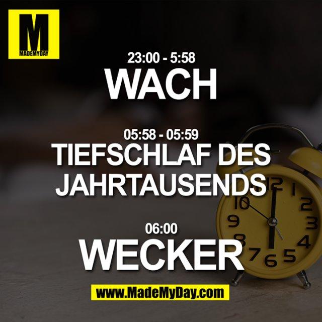 23:00 - 5:58 WACH<br /> 05:58 - 05:59 Tiefschlaf des Jahrtausends<br /> 06:00 WECKER