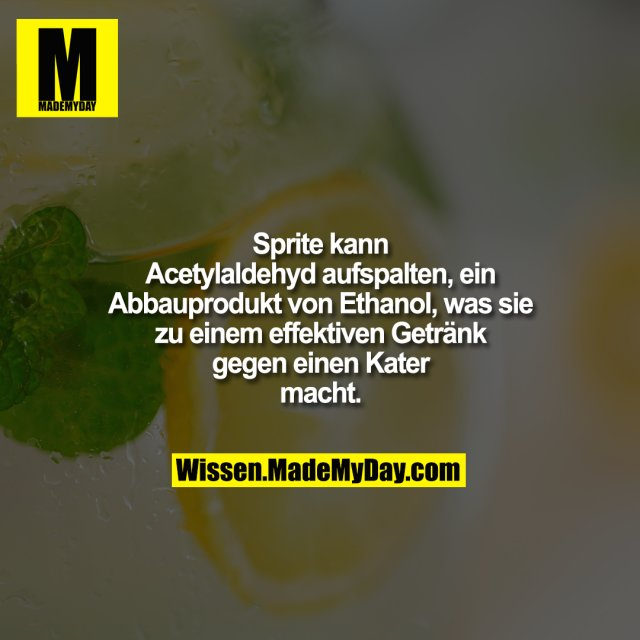 Sprite kann Acetylaldehyd aufspalten, ein Abbauprodukt von Ethanol, was sie zu einem effektiven Getränk gegen einen Kater macht.