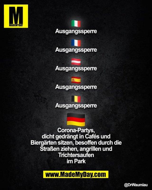 Italien:<br /> Ausgangssperre<br /> <br /> Frankreich:<br /> Ausgangssperre<br /> <br /> Österreich:<br /> Ausgangssperre<br /> <br /> Spanien:<br /> Ausgangssperre<br /> <br /> Belgien:<br /> Ausgangssperre<br /> <br /> Deutschland:<br /> - Corona-Partys<br /> - dicht gedrängt in Cafés und Biergärten sitzen<br /> - besoffen durch die Straßen ziehen<br /> - angrillen und Trichtersaufen im Park