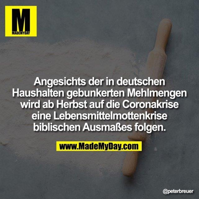 Angesichts der in deutschen Haushalten gebunkerten Mehlmengen wird ab Herbst auf die Coronakrise eine Lebensmittelmottenkrise biblischen Ausmaßes folgen.