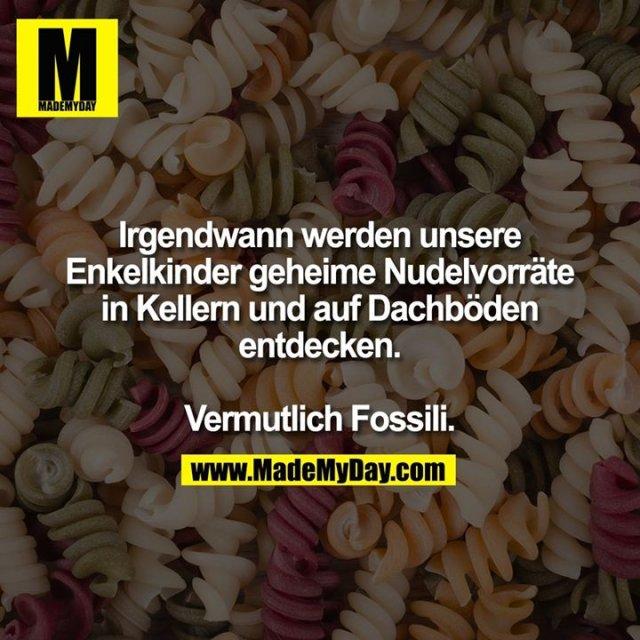 Irgendwann werden unsere<br /> Enkelkinder geheime Nudelvorräte in Kellern und auf Dachböden entdecken.<br /> <br /> Vermutlich Fossili.