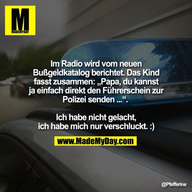 """Im Radio wird vom neuen<br /> Bußgeldkatalog berichtet. Das Kind fasst zusammen: """"Papa, du kannst ja einfach direkt den Führerschein zur<br /> Polizei senden ..."""". <br /> <br /> Ich habe nicht gelacht, ich habe mich nur verschluckt. :)"""