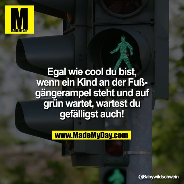 Egal wie cool du bist, wenn ein Kind an der Fußgängerampel steht und auf grün wartet, wartest du gefälligst auch!