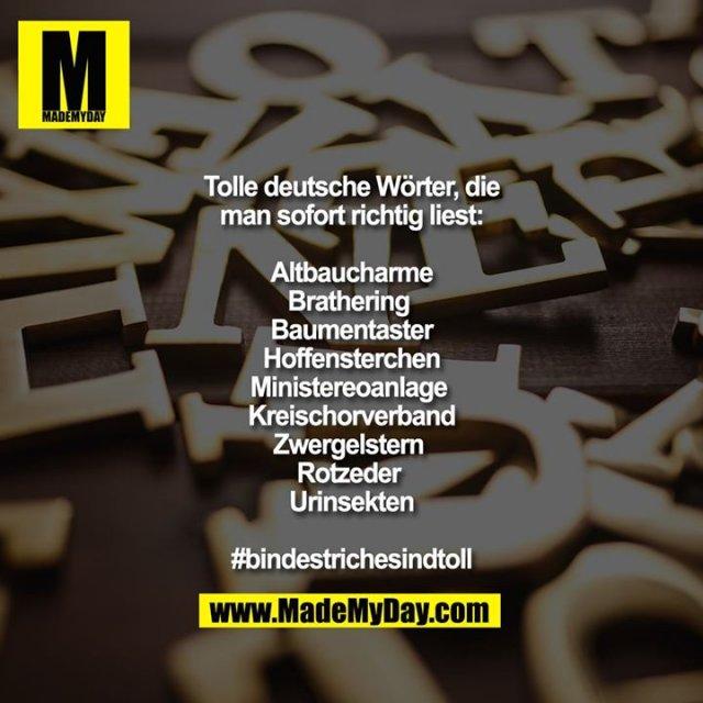 Tolle deutsche Wörter, die<br /> man sofort richtig liest:<br /> <br /> Altbaucharme<br /> Brathering <br /> Baumentaster<br /> Hoffensterchen<br /> Ministereoanlage <br /> Kreischorverband<br /> Zwergelstern <br /> Rotzeder <br /> Urinsekten<br /> <br /> #bindestrichesindtoll