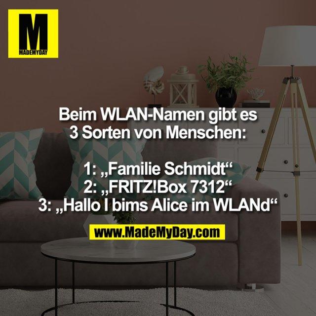 """Beim WLAN-Namen gibt es 3 Sorten von Menschen:<br /> 1: """"Familie Schmidt""""<br /> 2: """"FRITZ!Box 7312""""<br /> 3: """"Hallo I bims Alice im WLANd"""""""