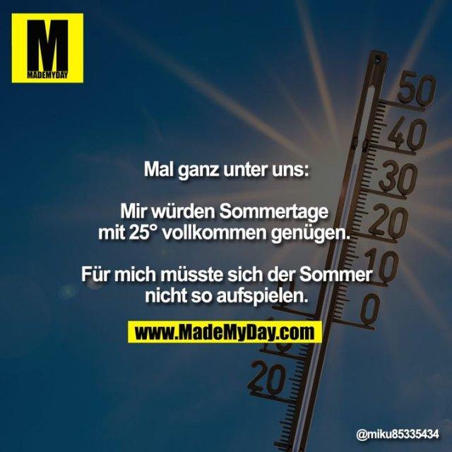 Mal ganz unter uns:<br /> <br /> Mir würden Sommertage <br /> mit 25° vollkommen genügen. <br /> <br /> Für mich müsste sich der Sommer nicht so aufspielen.