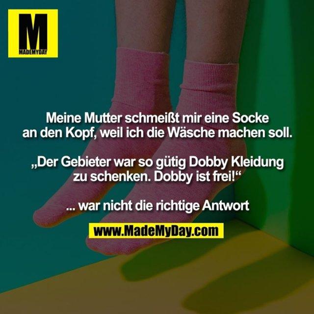 """Meine Mutter schmeißt mir eine Socke<br /> an den Kopf, weil ich die Wäsche machen soll.<br /> <br /> """"Der Gebieter war so gütig Dobby Kleidung<br /> zu schenken. Dobby ist frei!""""<br /> <br /> ... war nicht die richtige Antwort"""