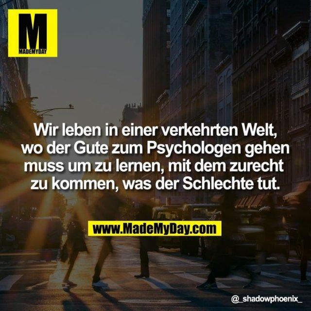 Wir leben in einer verkehrten Welt, wo der Gute zum Psychologen gehen muss um zu lernen, mit dem zurecht zu kommen, was der Schlechte tut.