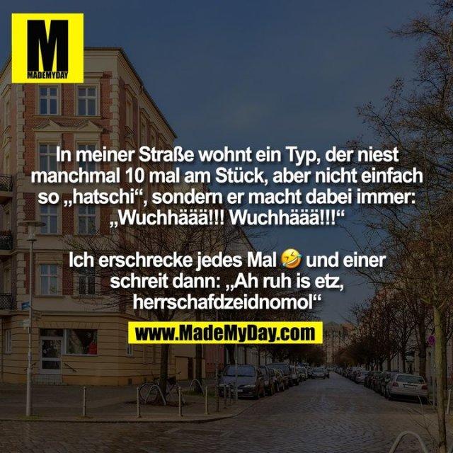 """In meiner Straße wohnt ein Typ, der niest<br /> manchmal 10 mal am Stück, aber nicht einfach<br /> so """"hatschi"""", sondern er macht dabei immer:<br /> """"Wuchhäää!!! Wuchhäää!!!""""<br /> <br /> Ich erschrecke jedes Mal �    und einer<br /> schreit dann: """"Ah ruh is etz,<br /> herrschafdzeidnomol"""""""