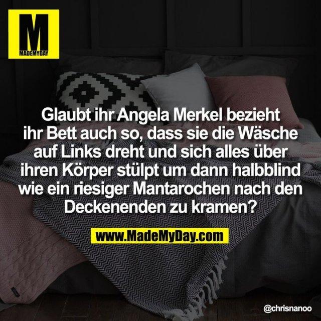 Glaubt ihr Angela Merkel bezieht ihr Bett auch so, dass sie die Wäsche auf Links dreht und sich alles über ihren Körper stülpt um dann halbblind wie ein riesiger Mantarochen nach den Deckenenden zu kramen?