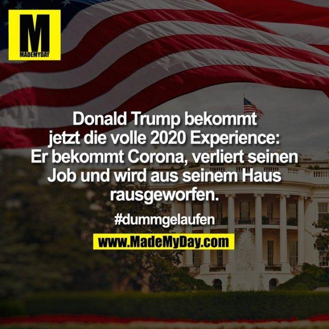 Donald Trump bekommt jetzt die volle 2020 Experience: Er bekommt Corona, verliert seinen Job und wird aus seinem Haus rausgeworfen<br /> <br /> #dummgelaufen