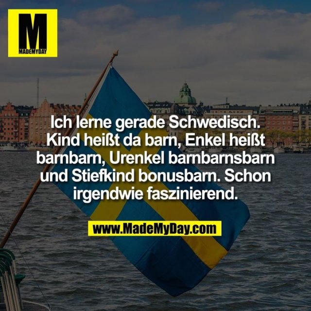 Ich lerne gerade Schwedisch. Kind heißt da barn, Enkel heißt barnbarn, Urenkel barnbarnsbarn und Stiefkind bonusbarn. Schon irgendwie faszinierend