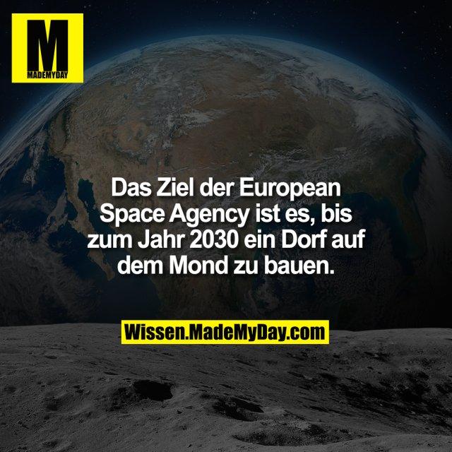 Das Ziel der European Space Agency ist es, bis zum Jahr 2030 ein Dorf auf dem Mond zu bauen.