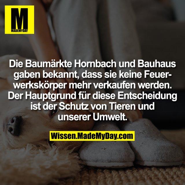 Die Baumärkte Hornbach und Bauhaus gaben bekannt, dass sie keine Feuerwerkskörper mehr verkaufen werden. Der Hauptgrund für diese Entscheidung ist der Schutz von Tieren und unserer Umwelt.
