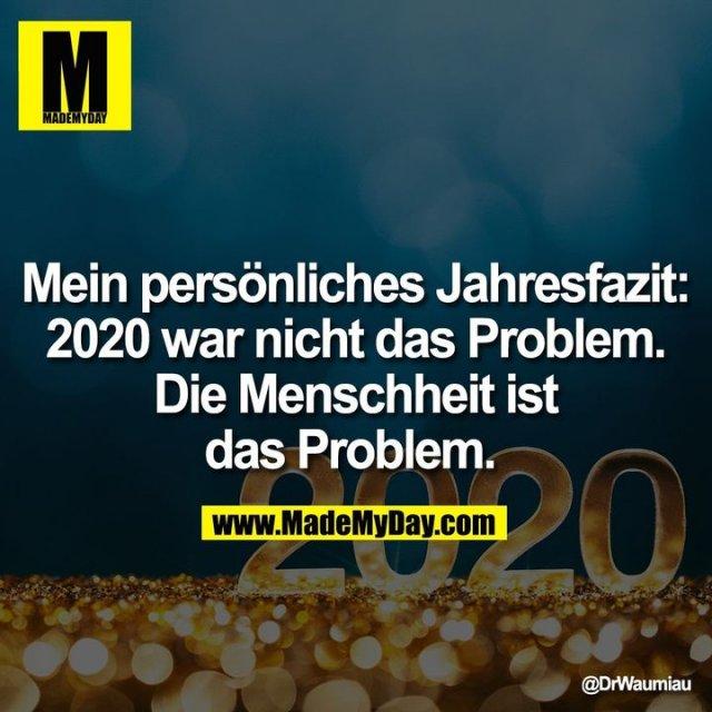 Mein persönliches Jahresfazit: 2020 war nicht das Problem. Die Menschheit ist das Problem.