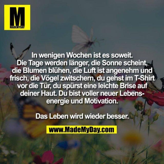 In wenigen Wochen ist es soweit.<br /> Die Tage werden länger, die Sonne scheint,<br /> die Blumen blühen, die Luft ist angenehm und<br /> frisch, die Vögel zwitschern, du gehst im T-Shirt<br /> vor die Tür, du spürst eine leichte Brise auf<br /> deiner Haut. Du bist voller neuer Lebens-<br /> energie und Motivation.<br /> <br /> Das Leben wird wieder besser.