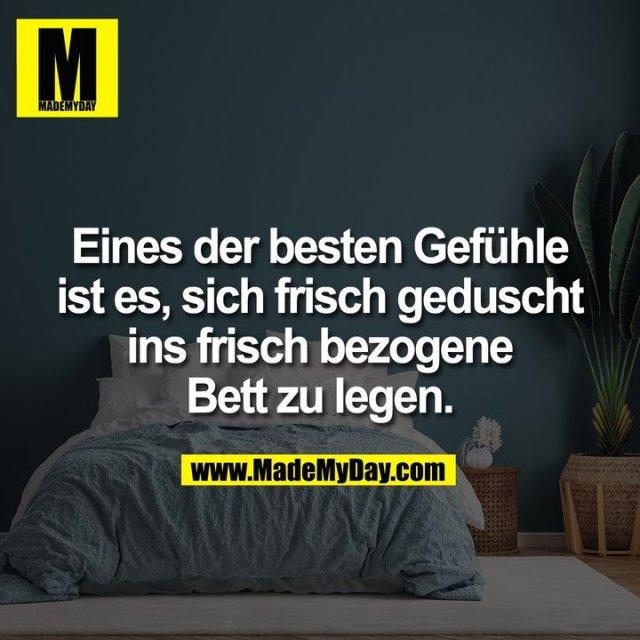 Eines der besten Gefühle<br /> ist es, sich frisch geduscht<br /> ins frisch bezogene<br /> Bett zu legen.