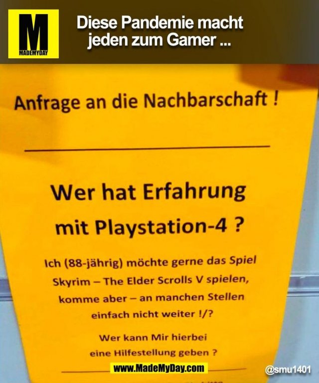 Diese Pandemie macht jeden zum Gamer ... @smu1401 (BILD)