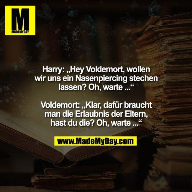 """Harry: """"Hey Voldemort, wollen<br /> wir uns ein Nasenpiercing stechen<br /> lassen? Oh, warte ...""""<br /> <br /> Voldemort: """"Klar, dafür braucht<br /> man die Erlaubnis der Eltern,<br /> hast du die? Oh, warte ..."""""""